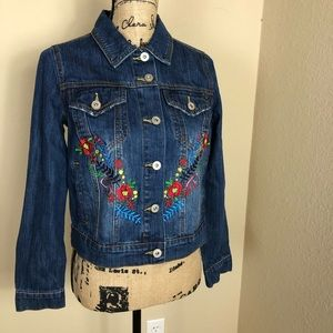 Bagatelle Embroidered Jean Jacket NWT S